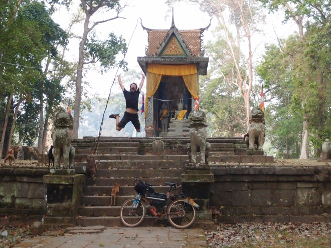 Jumping near Angkor Thom